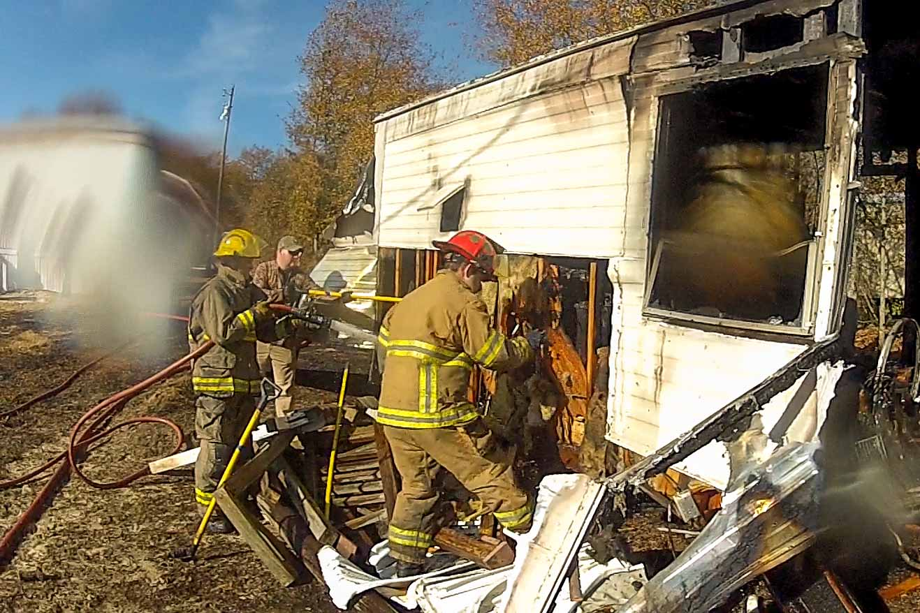 Brush and Mobile Home Fire